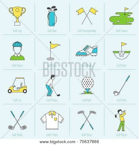 Golf Icons Flat Line