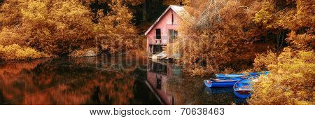 Panorama Landscape Stunning Vibrant Autumn Scene Boat Lake And Boathouse