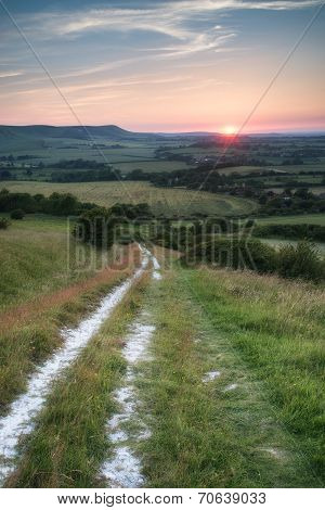 Landscape Image Summer Sunset View Over English Countryside
