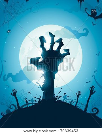 Halloween background with zombie hands on full moon