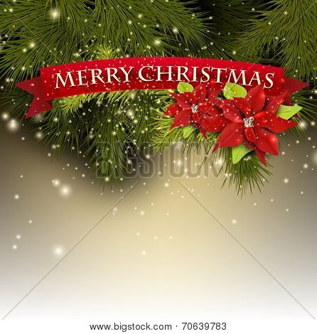 Christmas background with fir branches and red banner
