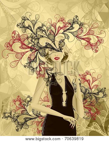Beautiful gold girl with doodle abstract mask