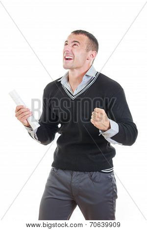 Excited Male Graduate Cheering With Diploma