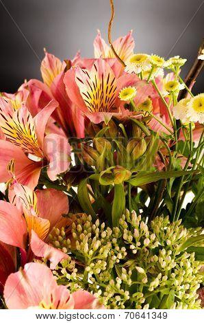 Bouquet Of A Beautiful Alstroemeria Flowers