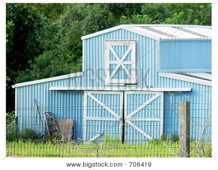 Country Barn In Baby Blue