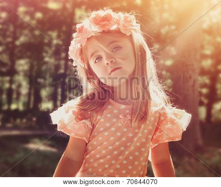 Beautiful Flower Girl In Woods With Sunshine