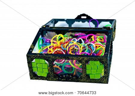 elastic loom bands color full in side box isolate on white background