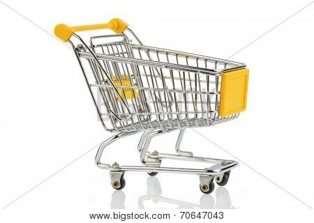an empty shopping cart on white background. symbolic photo for shopping