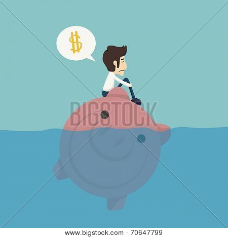 Businessman Sitting On A Piggybank , Businessman No Money
