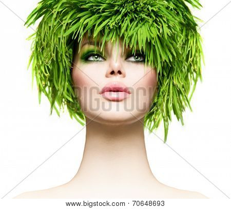 Beauty Woman with Fresh Green Grass Hair. Nature model girl portrait.