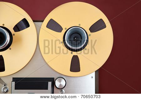 Analog Stereo Open Reel Tape Deck Recorder Spool Closeup