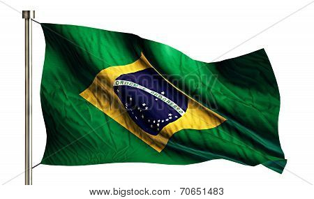 Brazil National Flag Isolated 3D White Background