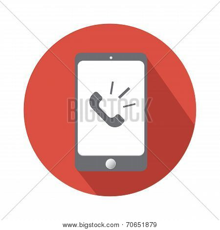 Phone Call In Smartphone Flat Icon