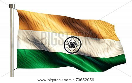 India National Flag Isolated 3D White Background