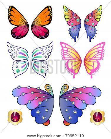 Butterflies Colored Gem Wings Set