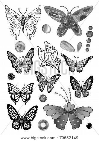 Monochrome Butterflies Set