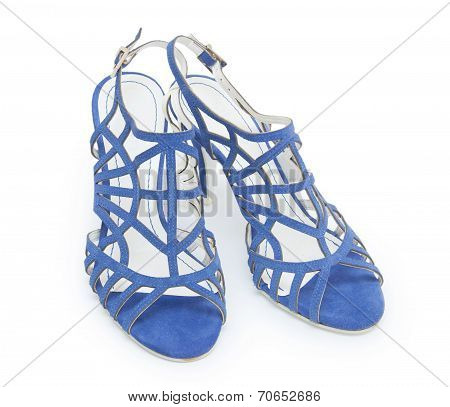 Blue High Heel Women Shoes On White Background
