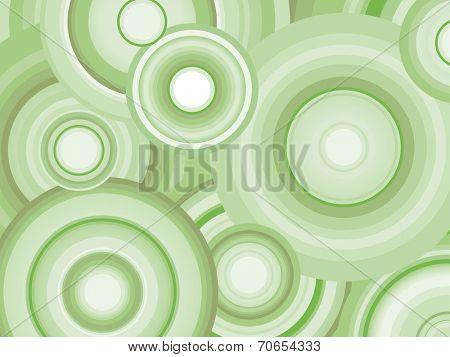 Abstract Retro Vector Background with circles. Decorative background with green toned concentric circles.