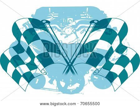 Checkered Flag and Engine Emblem