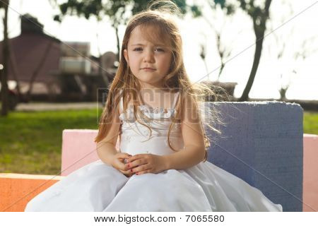 Blonde Girl With White Dress