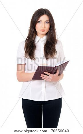 Young woman with notepad, isolated on white background