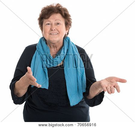 Portrait Of A Happy Isolated Female Senior Talking With Her Hands.