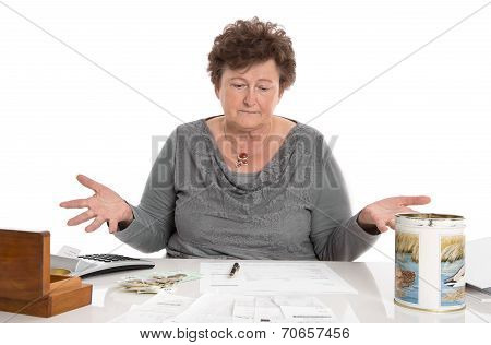 Sad Pensioner Woman Have Money Problems - Poverty In The Age.