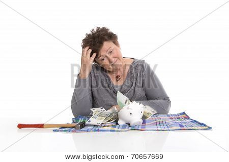 Sad Pensioner With Money Problems. Standard Of Living For Older People Concept.