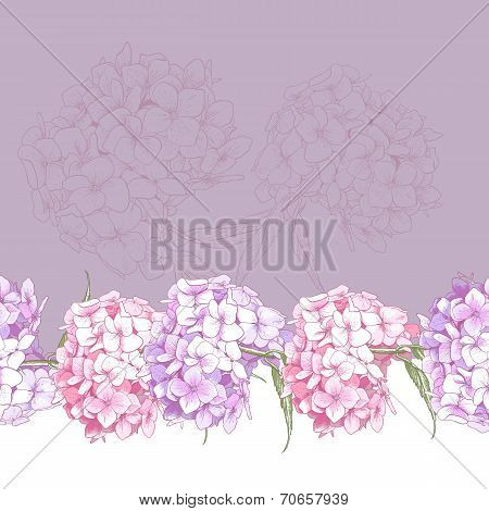 Beautiful Pink Hydrangea Seamless Floral Border