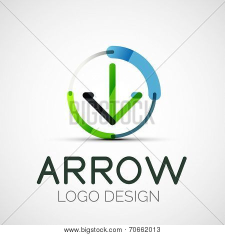 arrow company logo, abstract business symbol - concept direction, modern line design