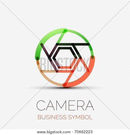 shutter icon company logo design, business symbol concept, minimal line design