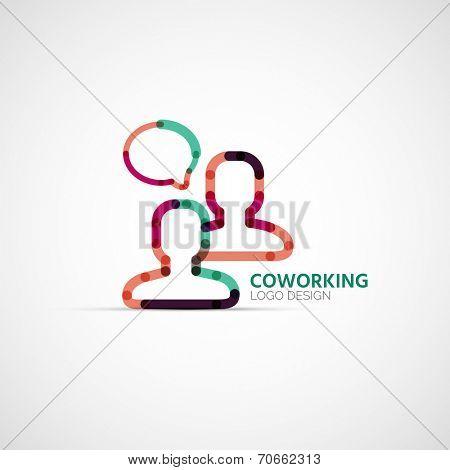 coworking company logo design, business symbol concept, minimal line design
