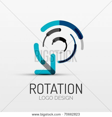 rotation icon, arrow company logo design, business symbol concept, minimal line style