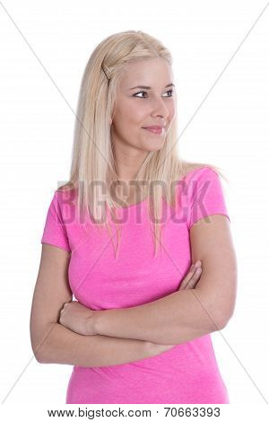 Pretty Young Blond Girl In Pink Shirt Isolated.