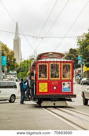 Street Of San Francisco With An Old Fashioned Cable Car