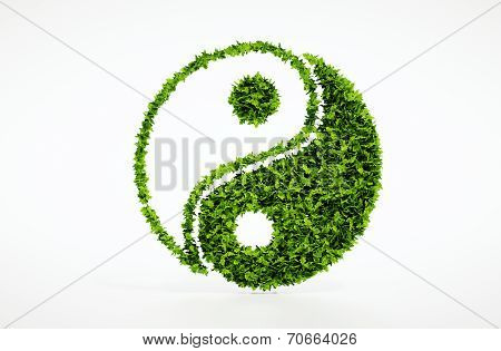 Ecology jin jang symbol with white background
