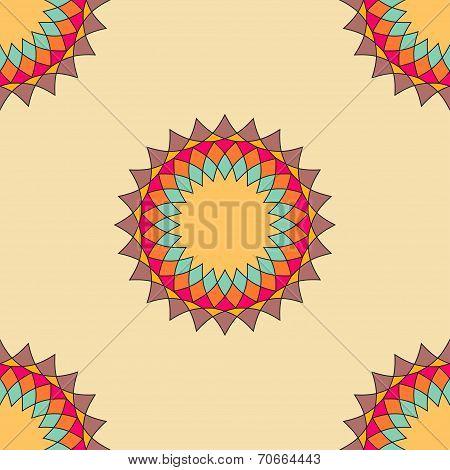 Round ornament seamless pattern, spirograph background