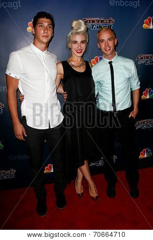 NEW YORK-AUG 13: Members of the Bad Boys of Ballet attend the backstage post-show red carpet for NBC's 'America's Got Talent' Season 9 at Radio City Music Hall on August 13, 2014 in New York City.