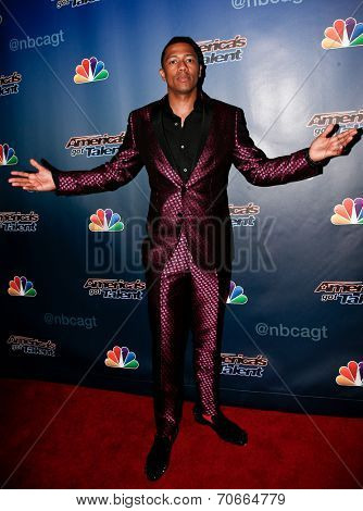 NEW YORK-AUG 13: Host Nick Cannon attends the backstage post-show red carpet for NBC's 'America's Got Talent' Season 9 at Radio City Music Hall on August 13, 2014 in New York City.
