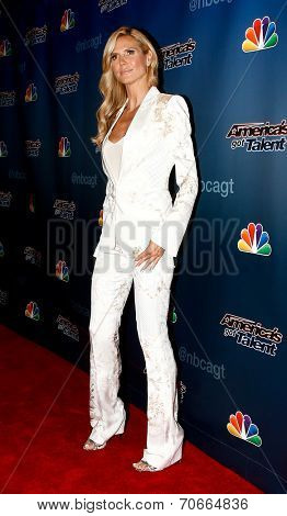 NEW YORK-AUG 13: Model Heidi Klum attends the backstage post-show red carpet for NBC's 'America's Got Talent' Season 9 at Radio City Music Hall on August 13, 2014 in New York City.