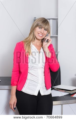 Woman Is Phoning In The Office