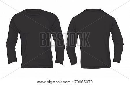 Men's Long Sleeved T-shirt Template, Black Color