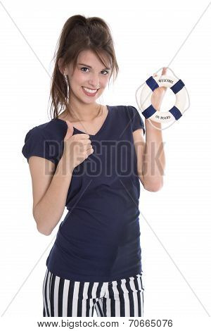 Isolated Pretty Smiling Woman In Navy Style With Lifebelt.