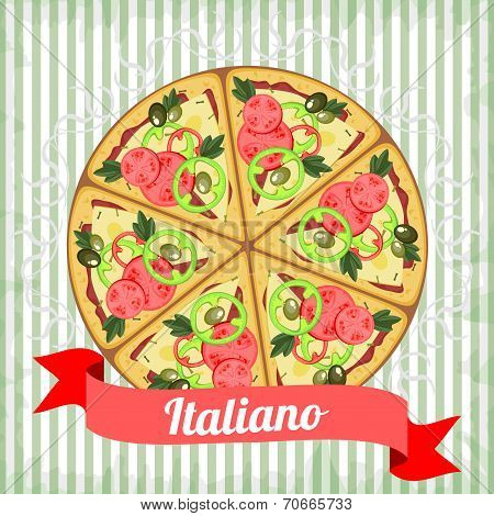 Retro Poster With Italian Pizza