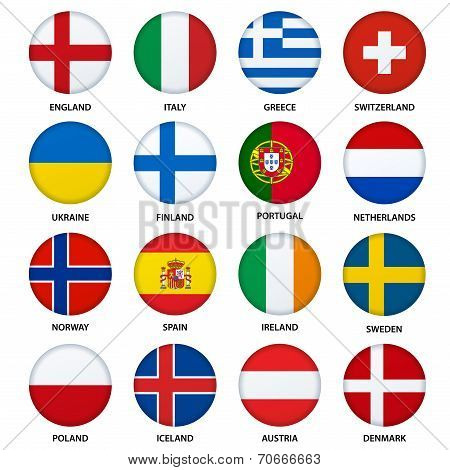 Set of round flags buttons - 2