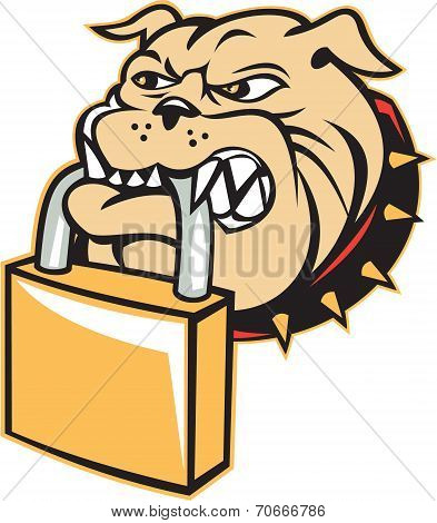 Bulldog Dog Mongrel Head Padlock Retro
