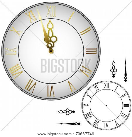 Old-fashioned wall clock with hands about midnight with black and white template.