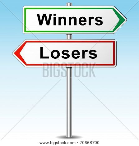Winners And Losers Direction Sign