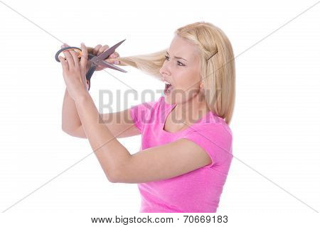 Desperate Woman Will Cut Her Damaged Blond Hair. Isolated Over White.