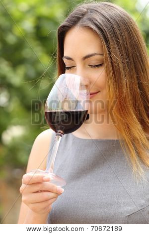 Somelier Woman Smelling Red Wine